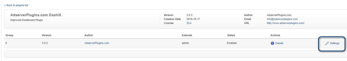 Access the Settings for the DashiX plugin