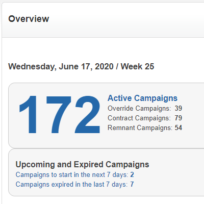 Overview of all active campaigns by type, plus upcoming and recently expired campaigns